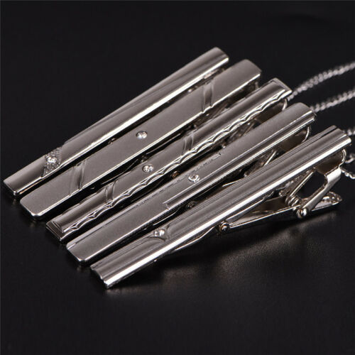 Men Silver Necktie Tie Clips Stainless Steel Plain Clasp Bars Pins Clips BSES