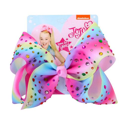 "UK 8/"" Cartoon JOJO SIWA Rainbow Hair Bow With Alligator Clip Girl Kids Bowknot"