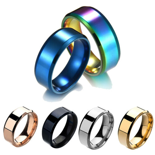 8MM Stainless Steel Mens Womens Wedding Engagement Anniversary Ring Band Novelty