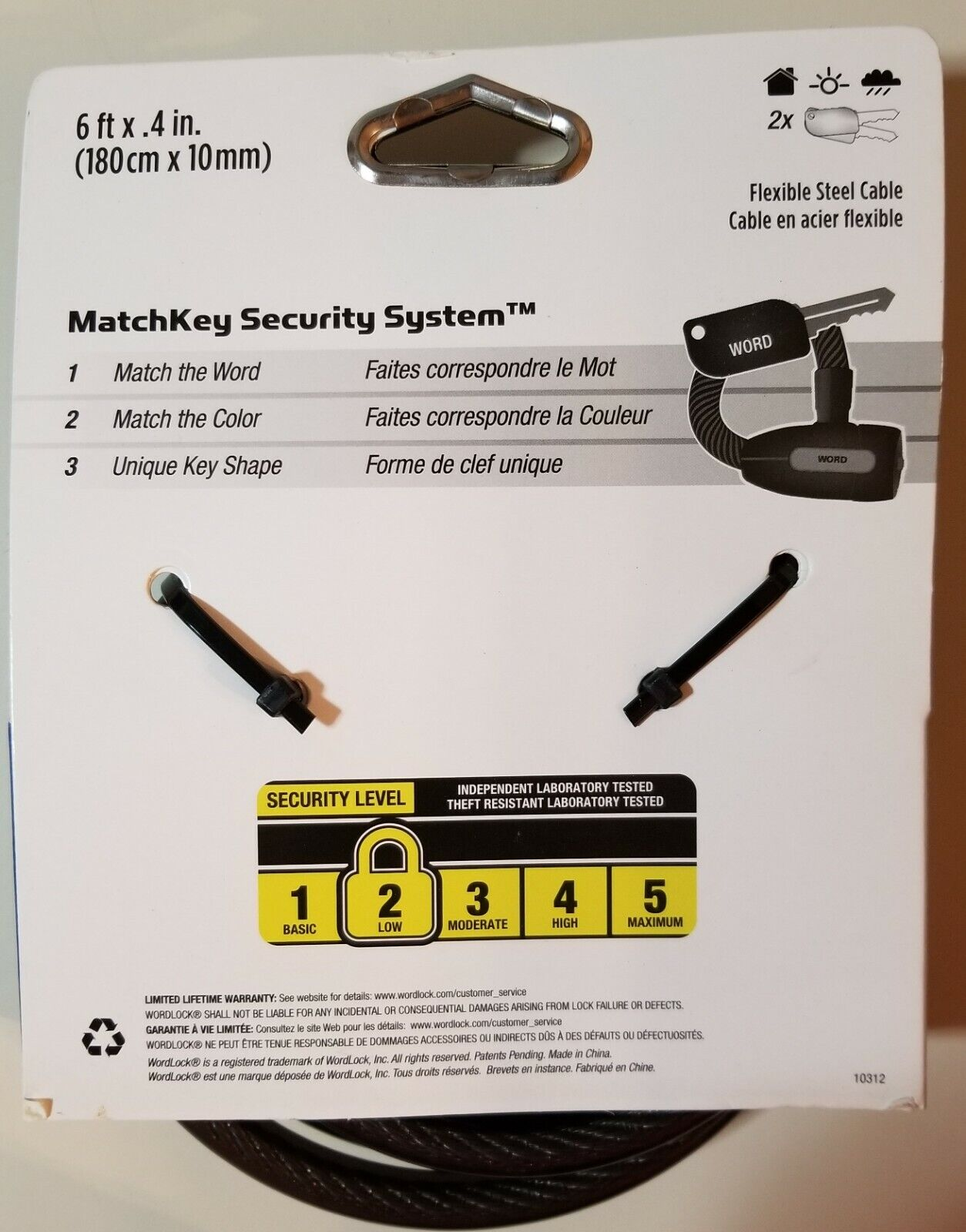 WordLock MatchKey Security Matching Key and Cable CL-617-BK Black