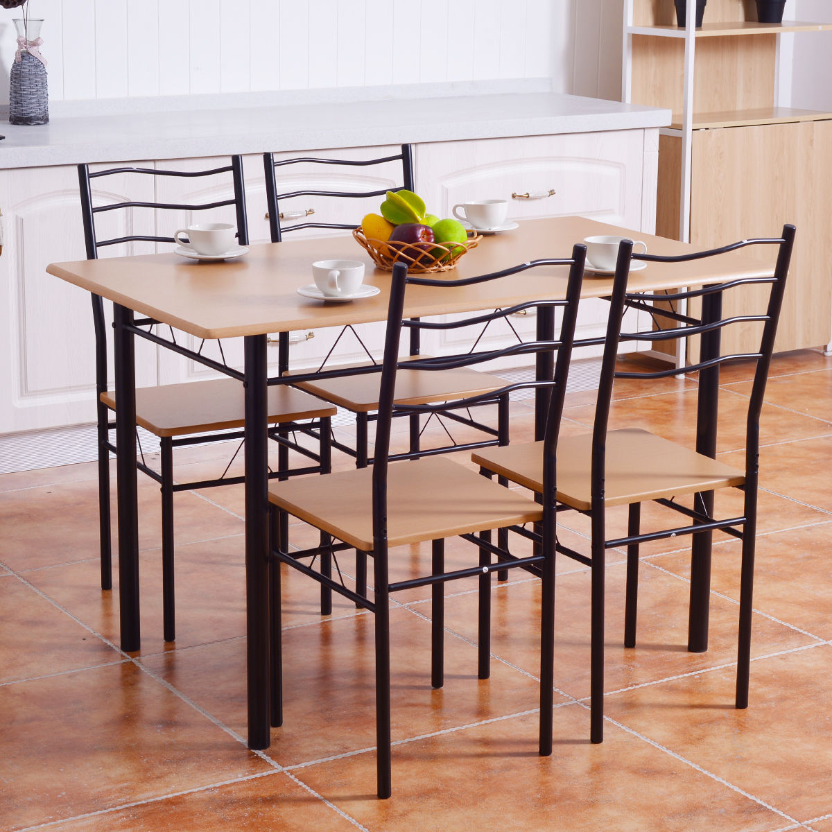 Costway 6 Piece Dining Table Set with 6 Chairs Wood Metal Kitchen