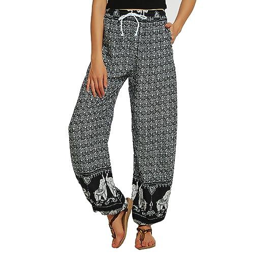 Urban GoCo Women/'s Boho Hippie Harem Trousers