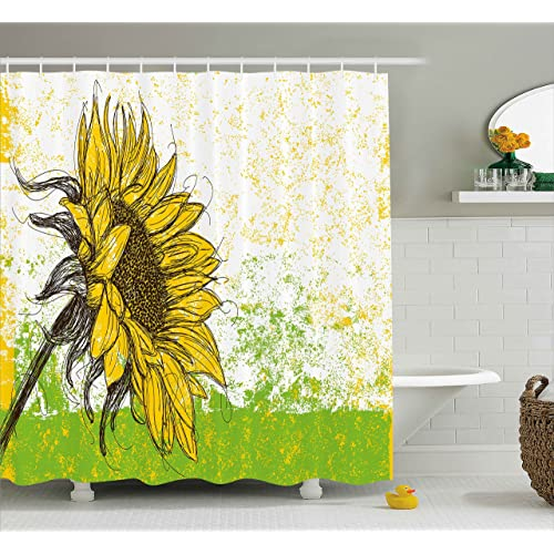 Fern Green Marigold Beige 75 inches Long Lunarable Sunflower Shower Curtain Romantic Flowers on Old Fashioned Letters Postcards Newspapers Cloth Fabric Bathroom Decor Set with Hooks