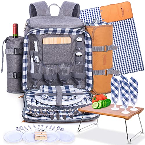 Fully Equipped with Plates Cutlery Non-breakable Glasses Chopping Board Bottle Opener Napkins S//P Shakers Plus Waterproof Blanket Gray Romali/'s Family Picnic Backpack for 4 Insulated