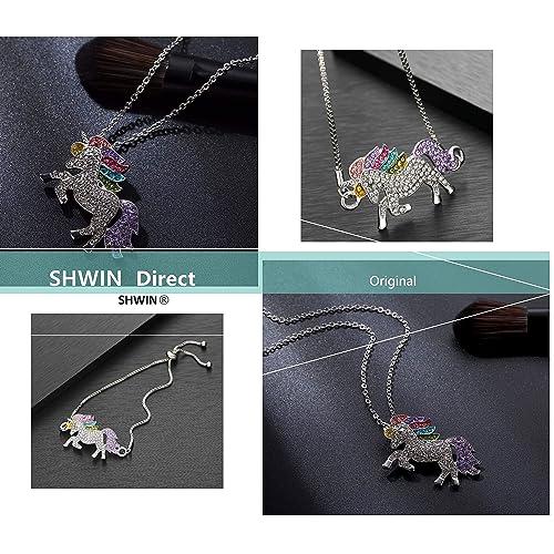 SHWIN Rainbow Unicorn Charm Bracelet for Girls Women Unicorn Gifts with Message Card
