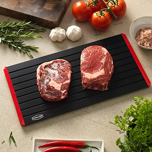 2 in 1 Defrosting Cutting Board Thawing Plate for Kitchen Chopping Thawing Meat Chicken Fish Steak 15.9x9.5inch Black 2 Side Use X-Chef Defrosting Tray