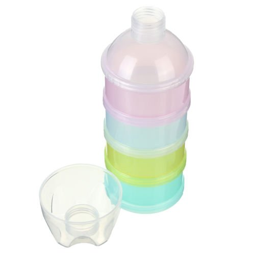 Fliyeong Portable Milk Powder Box Stackable Formula 4 Layer Milk Powder Dispenser Baby Feeding Box for Traveling Outdoor Use 2 Pcs Random Color Creative and Useful