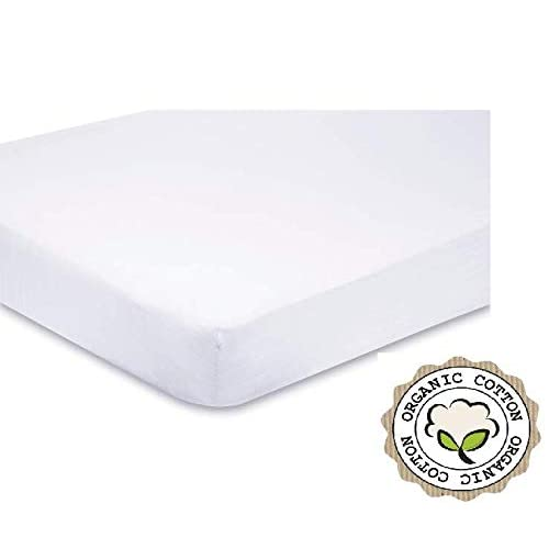 83cm x 50cm White DK Glovesheets Organic Cotton Fitted Cot Sheet