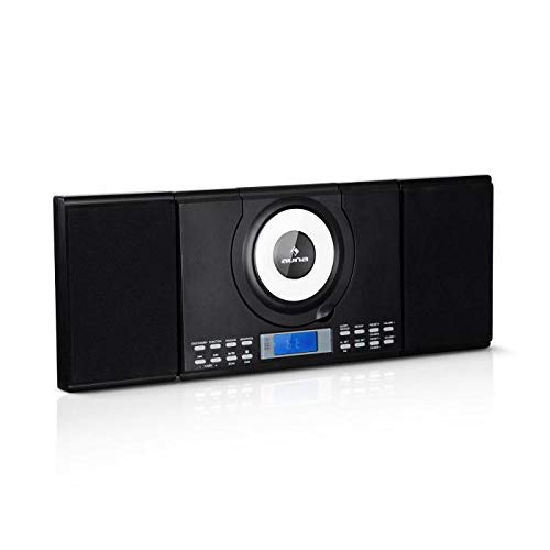 auna Wallie Microsystem • Stereo System • Micro System • 2 x 10 Watts RMS  Stereo Speakers • Front-Loading CD Player • FM Tuner • Bluetooth • USB Port