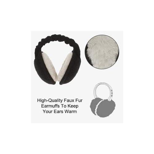 Millya Folding Winter Soft Plush Earmuffs Unisex Elastic Ear Warmer Thermal Earlap for Men Women Girls Boys