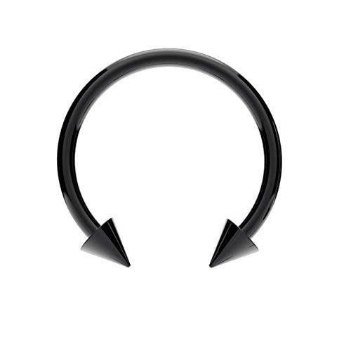 Surgical Steel Horseshoe Bar Anodized Black With Cones Lip Nose