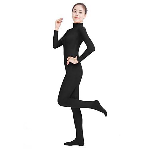 Oulinect Womens Lycra Spandex Bodysuit Full Bodysuit Unitard Zentai Suit Turtle Neck