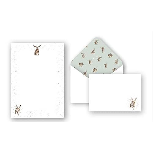 18 Sheets and 18 envelopes Wagtail Designs Writing Paper Gift Set with a Hare Illustration in a Lovely Black Box with Ribbon