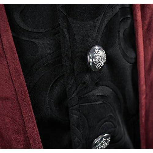 YEAXLUD Mens Gothic Tailcoat Victorian Costume Steampunk Jacket Renaissance Pirate Vampire Frock Velvet Coat for Halloween