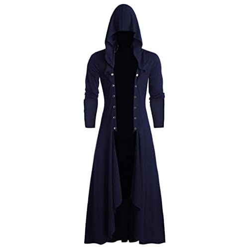 OMINA Mens Gothic Tailcoat Jacket Vintage Steampunk Fashion Casual Large Size Loose Fit Uniform Coat