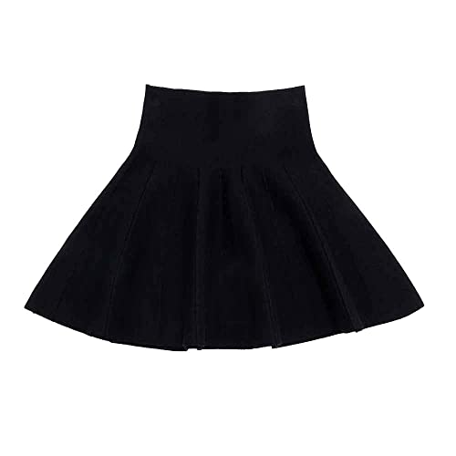 Gooket Little Big Girls High Waist Knitted Flared Pleated Skater Skirt Casual Age 3-14Y