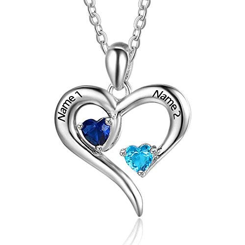 Personalized 925 Sterling Silver 2 Name /& Birthstone Mothers promise Necklace 1