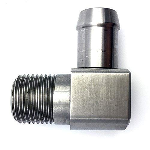 """Spectre Performance 5946 3//8/"""" NPT to 3//8/"""" Hose Barb 90° Chrome Fuel Fitting"""