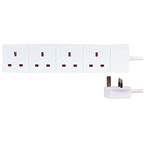 TISDLIP 1M//3FT 4 Gang White Extension Lead Wall Mount Supported Socket