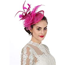 e859b8f63a9d5 Fascinators Hat Sinamay Flower Mesh Feathers on a Headband and a Clip Tea  Party .
