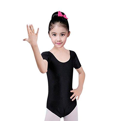 YiZYiF Girls Gymnastics Leotard Ages 2-14 Stretchy Dance Sports Sleeve Top Uniform
