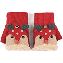 Flammi Kids Warm Lined Knit Flip Mittens Fingerless Gloves with Mitten Flap