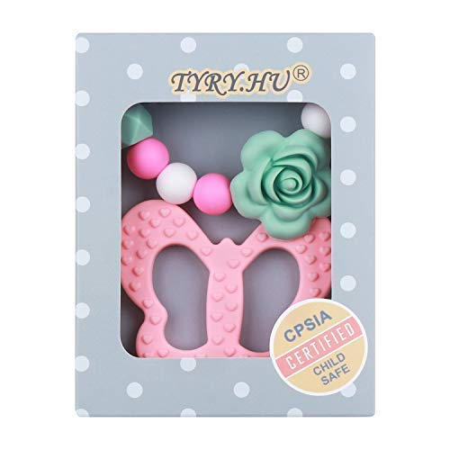 Orzbow Baby Teething Toys BPA Free Silicone Flamingo Teether with Pacifier Clip Holder Set Freezer Safe Chew Beads for Infant