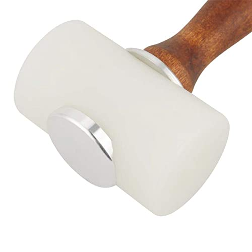 DIY Leathercraft Mallet Nylon T Head Wood Handle 7.4 Inch Leather Carving Hammer Cowhide Sew Club