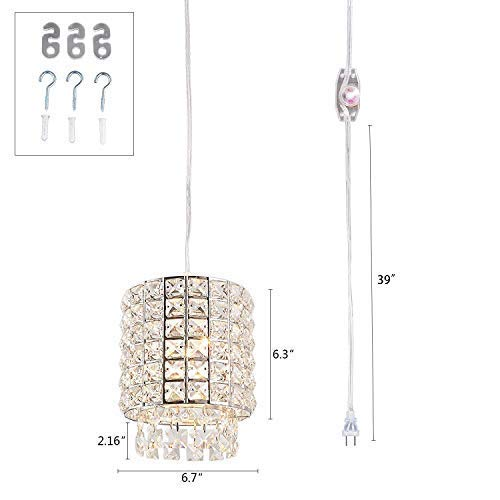 Kitchen Island Dining Room Entryway Creatgeek Plug in Industrial Pendant Light Fixture with 16.4(Ft)Cord and in-Line On//Off Dimmer Switch Night Stand Unique Swag Hanging Crystal Lamp for Bar