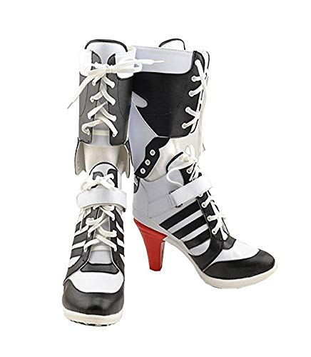 Fly Costume Womens Cosplay Halloween White PU Pleather Shoes High Heel Boots 3.6 incehs