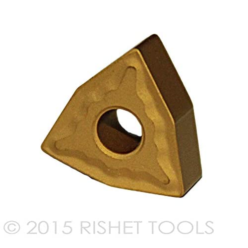 RISHET TOOLS 10142 CCMT 21.51 C2 Multi Layer TiN Coated Solid Carbide Inserts Pack of 10