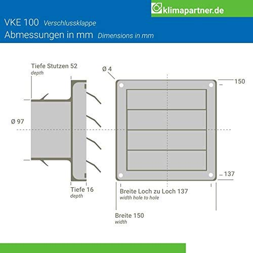 Klimapartner VKE 125 Stainless Steel External Air Vent Louvre Gravity Flap