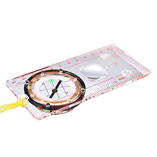 Fliyeong Professional Orienteering Mini Thumb Compass With Map Measuring Scale Outdoor Hiking Map Compass Camping Hiking Travel Accessories