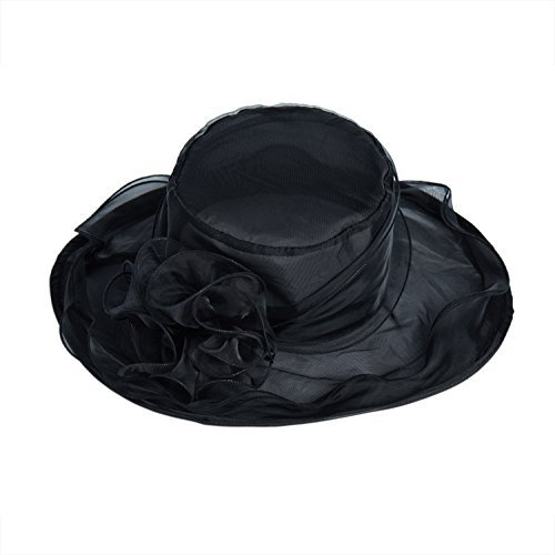 ICSTH Womens Organza Kentucky Derby Church Party Floral Wide Brim Summer Hat