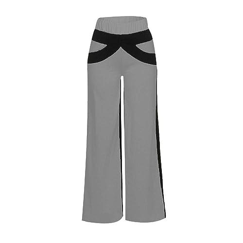 Contrast Color Bell Bottoms Flare Trousers Wide Leg Yoga Pants Meigeanfang Women Patchwork Sport Pants