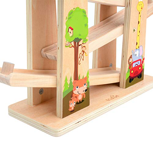 Baob/ë Wooden Track Educational/&Creative Toys of the Click Clack Track with 【4】 Zig Zag Car Slider
