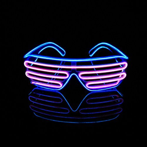 UltraByEasyPeasyStore Blue Adults EL Wire Glasses Light Up Neon Shutter Luminous Illuminated Party 3 Modes Glow Eyeglasses 3 Modes Concerts Clubs Bar Dj Raves Festivals