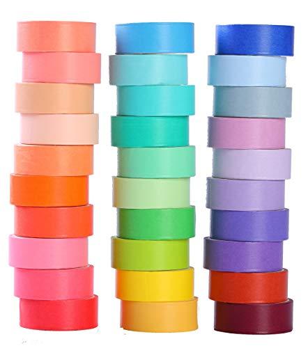 30 Rolls 15mm Wide Washi Masking Tape Set Colorful Decorative Washi Masking Tape,Decorative Writable Washi Craft Tape for DIY Crafts Book Designs