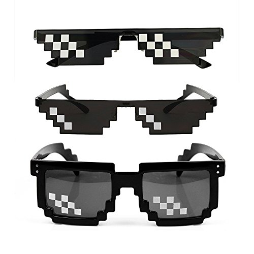 gotyou 6 Pack Mosaic Pixel Glasses,Thug Life Sunglasses,Mosaic Plaid Sunglasses,Decoration Eyewear Party Gift,Sunglasses Eyeglasses Photo Prop Toy,Men Women Sunglasses