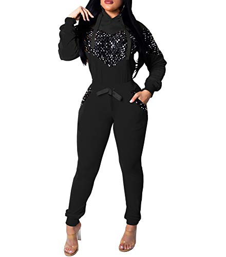 Womens Two Piece Outfits Sequin Hot Drilling Long Sleeve Sweatshirt Skinny Long Pants Tracksuit Set