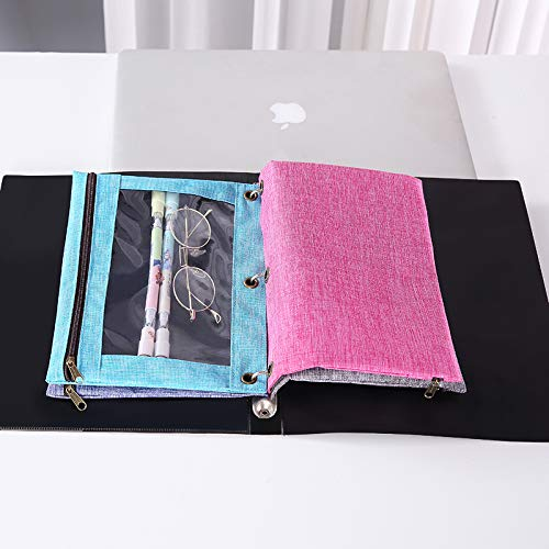 3 Rings Binder Pencil Pouch with Black Dismountable Zipper Puller Pencil Case with Double Pocket and Mesh Window Blue/&Pink
