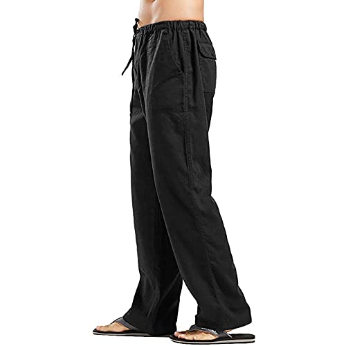 Zerototens Mens Casual Linen Cotton Trousers Elasticated Waist Drawstrings Pants Lightweight Breathable Yoga Gym Summer Pants Straight Leg Comfortable Athletic Pants