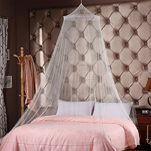 Comforbed Luxury Princess Romantic Square Top Bed Net Canopy Netting Mosquito Net Bedroom Decor Fit Crib Twin Full Queen King Bed White
