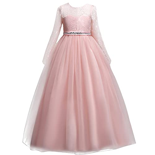 IWEMEK Kids Flower Girls Lace Tulle Long Sleeve Wedding Bridesmaid Communion Birthday Party Princess Dress Formal Pageant Carnival Prom Dance Ball Gown Maxi Long Dress 3-12 Years