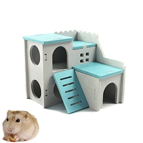 Sensational Kathson Wooden Hamster House Hideout Hut Rat Hideaway Exercise Toys For For Small Animals Like Dwarf Hamster And Mouse Blue Ocoug Best Dining Table And Chair Ideas Images Ocougorg