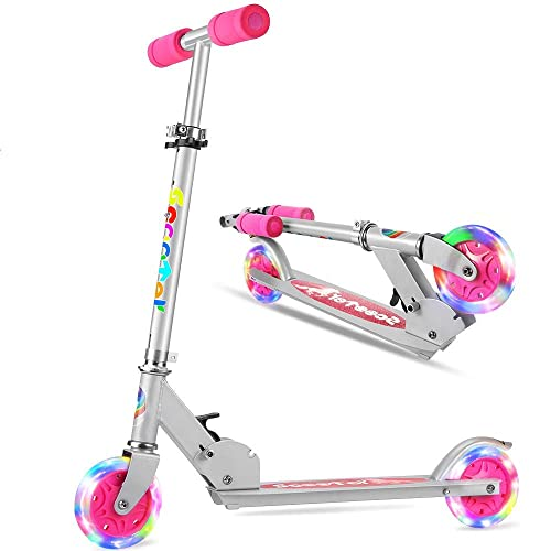 OUTON Folding Kick Scooter for Kids 2 Wheel Scooter LED Light Up Wheels US Safety Certified Children Scooter for Girls Boys 4 Years and up 3 Adjustable Height