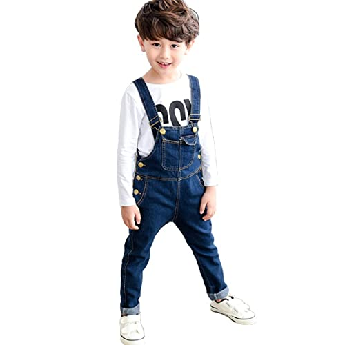 Boys Toddler Fall Front Button Down Denim Overall Jeans Jumpsuit with Pockets