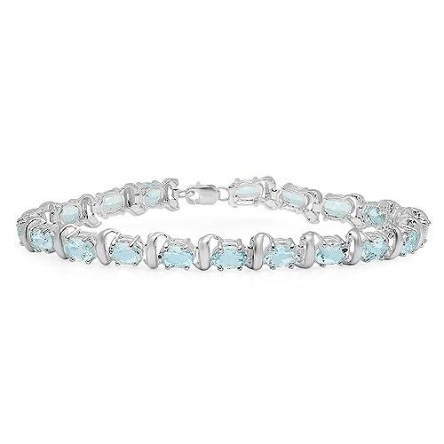 Sterling Silver ctw Dazzlingrock Collection 12.00 Carat Real Round Cut Genuine Blue Topaz Ladies Tennis Bracelet