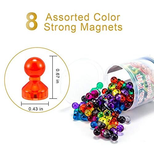 DAFUNY 60 Pack 7 Assorted Color Strong Magnets Push Pin Magnets Magnets for Refrigerator Dry Erase Board and Whiteboard Magnets Fridge Magnets Use at Home School Classroom and Office Magnets
