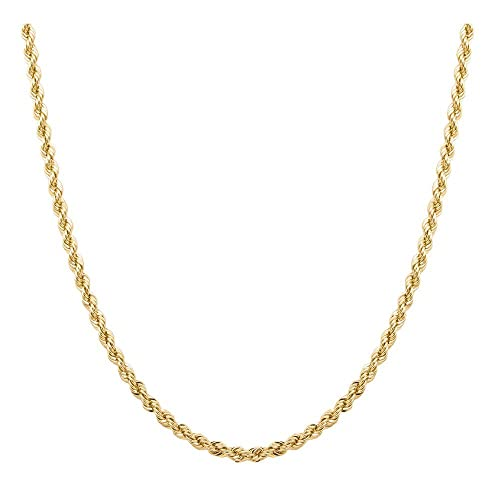 LOVEBLING 10K Yellow Gold 1.3mm Solid Diamond Cut Franco Chain Necklace Lobster Lock 18 to 30